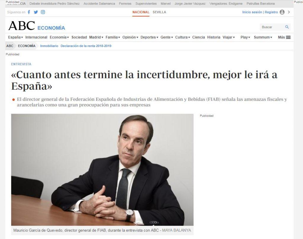 Entrevista a Mauricio garcía de Quevedo, director general de FIAB,